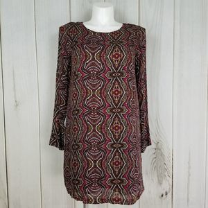 Prana | Boho Maroon Pink Print Zip Up Dress